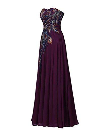 A-line Prom Dress Embroidery Evening Gown ELF001