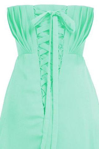 Cheap Classy Mint A-line Strapless Beading Chiffon Sleeveless Pleat Long Prom Dresses WK774