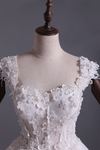 Wedding Dresses Off Shoulder With Handmade Flowers And Chapel Train