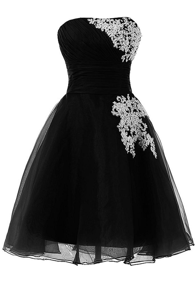New Arrival Homecoming Dresses Strapless A Line Tulle With Applique