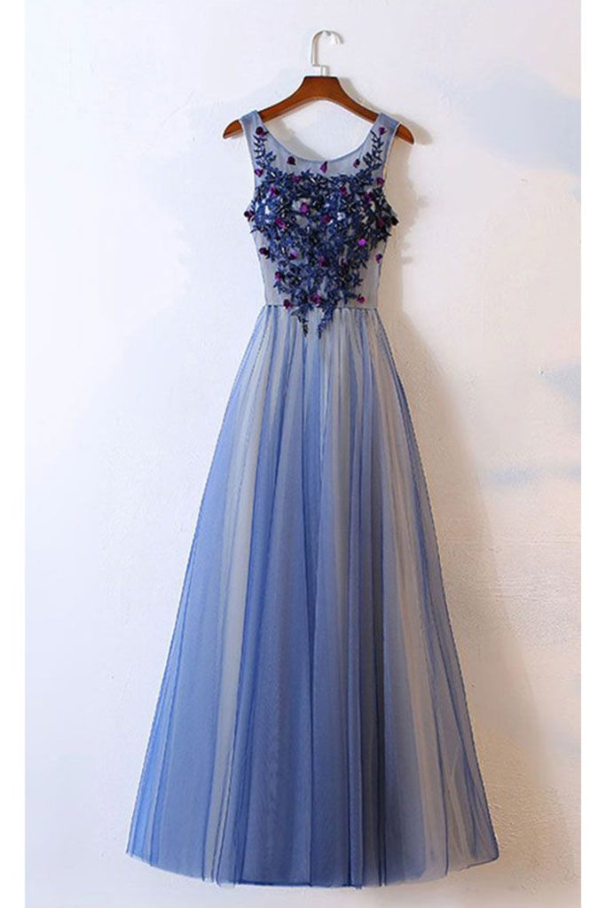 2019 New Arrival Prom Dresses Scoop Tulle With Applique A Line Lace Up