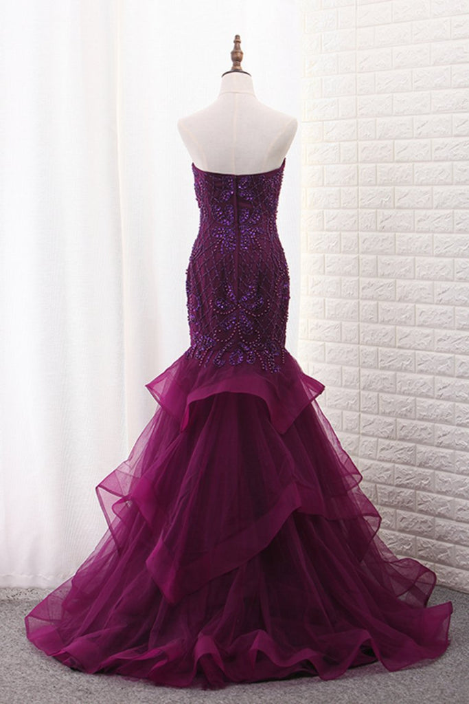2019 Tulle Mermaid Sweetheart Prom Dresses With Beading Sweep Train