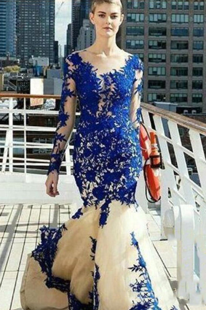 2019 Prom Dresses Mermaid Scoop Long Sleeves Tulle With Applique