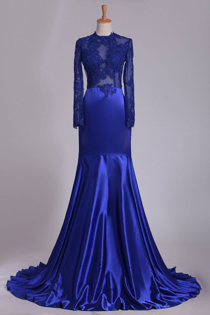 2019 Long Sleeve Evening Dresses Mermaid/Trumpet Elastic Satin With Applique Dark Royal Blue