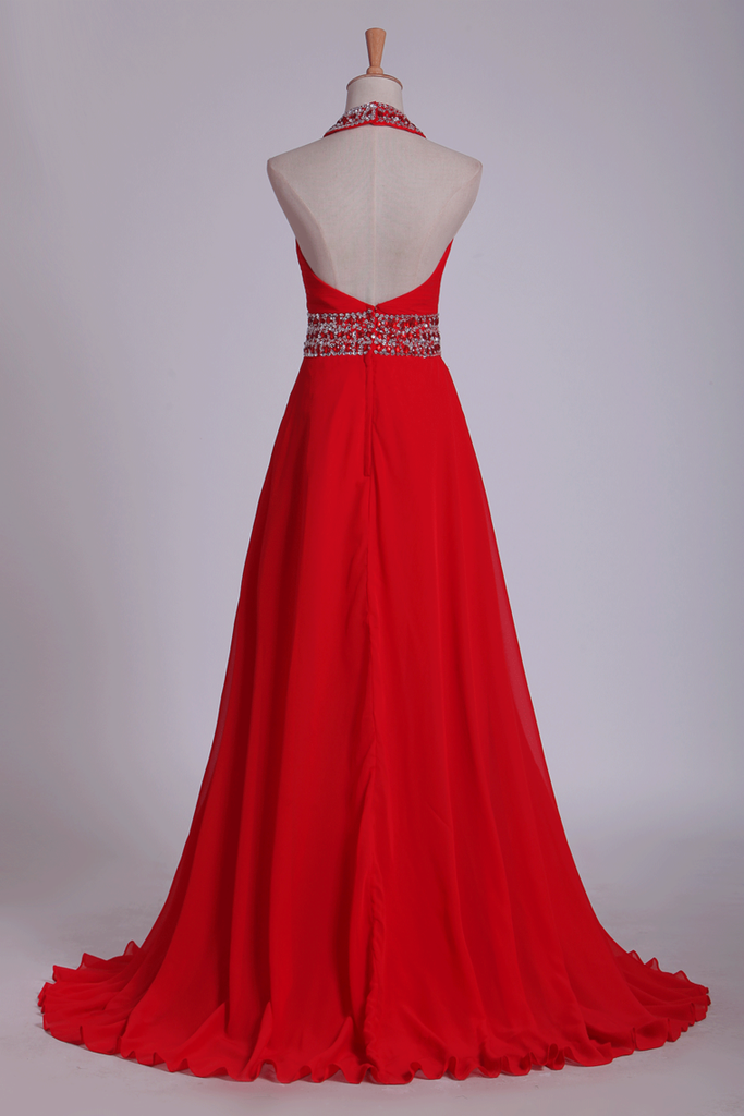 2019 Prom Dresses A Line Halter Chiffon With Beading And Ruffles