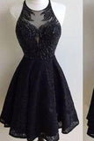 Black Lace Prom Dress Short Prom Dress Homecoming Dress WK334