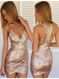 2020 Short Sequins Spaghetti Straps V Neck Mini Sexy Mermaid Homecoming Dresses WK647