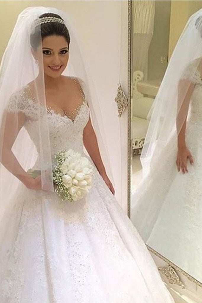 Modest Ivory Wedding Dresses Pretty Beading Wedding Gowns Bridal Dresses
