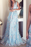 V-Neck Sleeveless Blue Tulle Appliques Affordable Long A-line Sleeveless Prom Dresses WK512