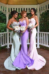 2020 Lace Mermaid Sexy Long Spaghetti Straps Sweetheart Backless Prom Dresses WK986
