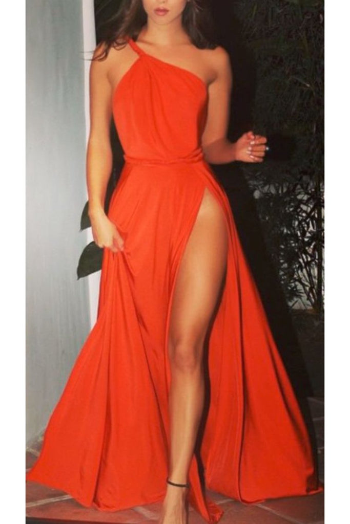 Evening Dresses A Line One Shoulder Chiffon With Slit Sweep Train