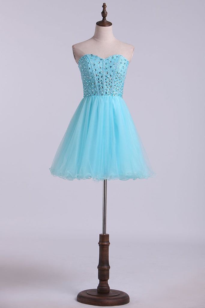 2019 New Arrival Sweetheart A-Line Tulle Homecoming Dresses With Beading