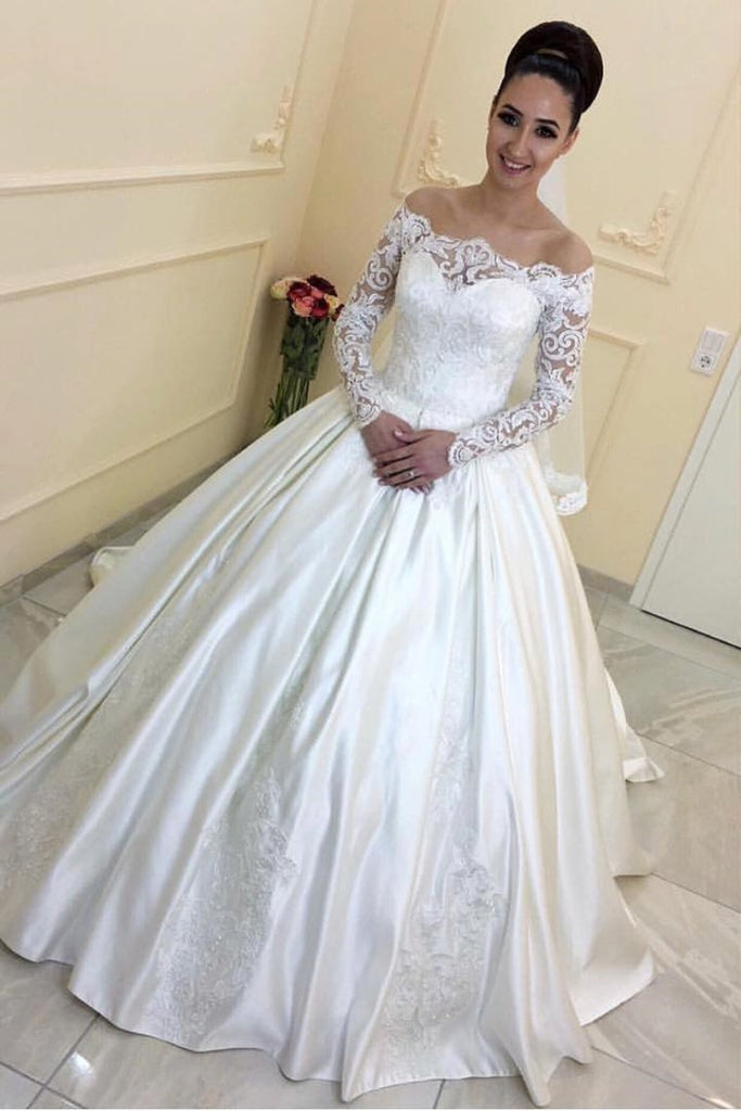 2019 New Arrival Boat Neck Stretch Satin A Line With Applique Wedding Dresses
