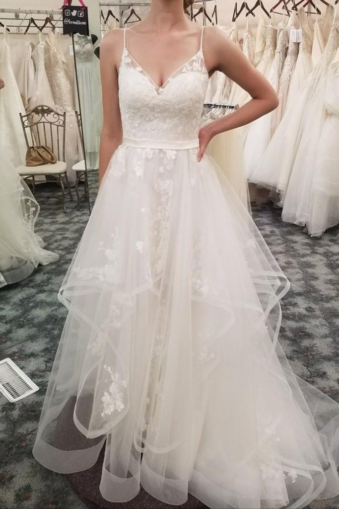 Spaghetti Straps V-Neck Ivory Lace Long Wedding Dresses Dresses For Wedding