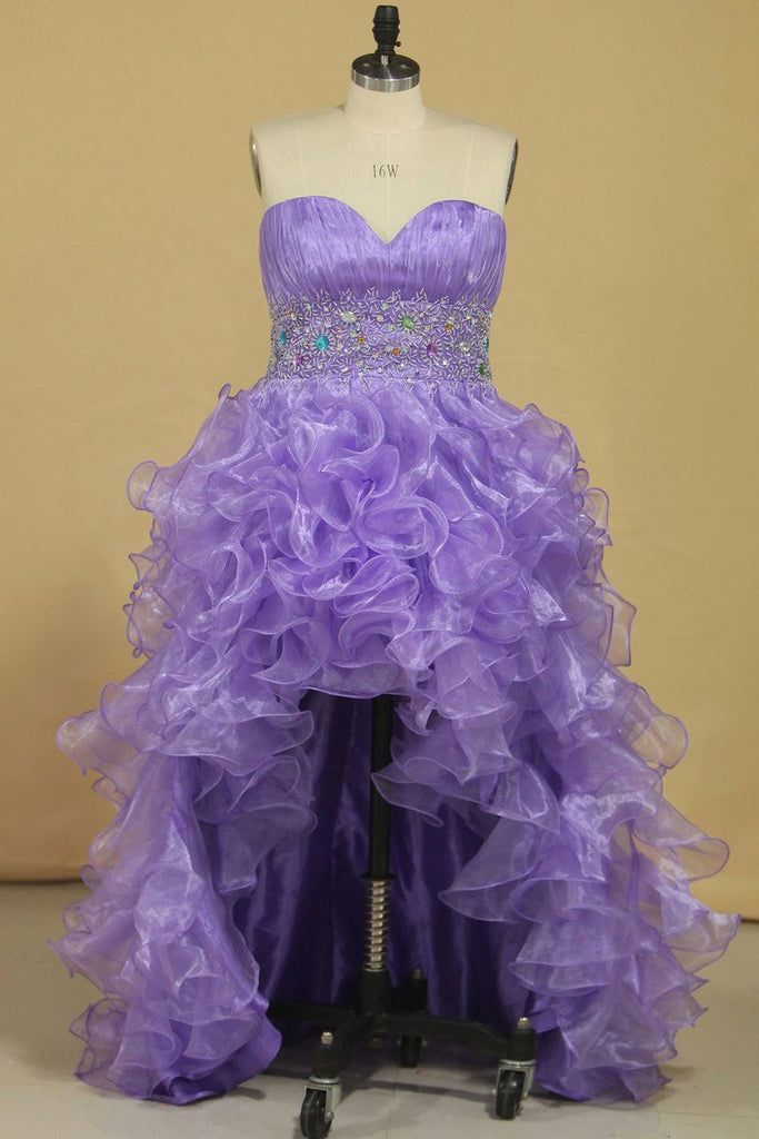 Asymmetrical Prom Dresses Sweetheart Organza With Beads And Ruffles A Line