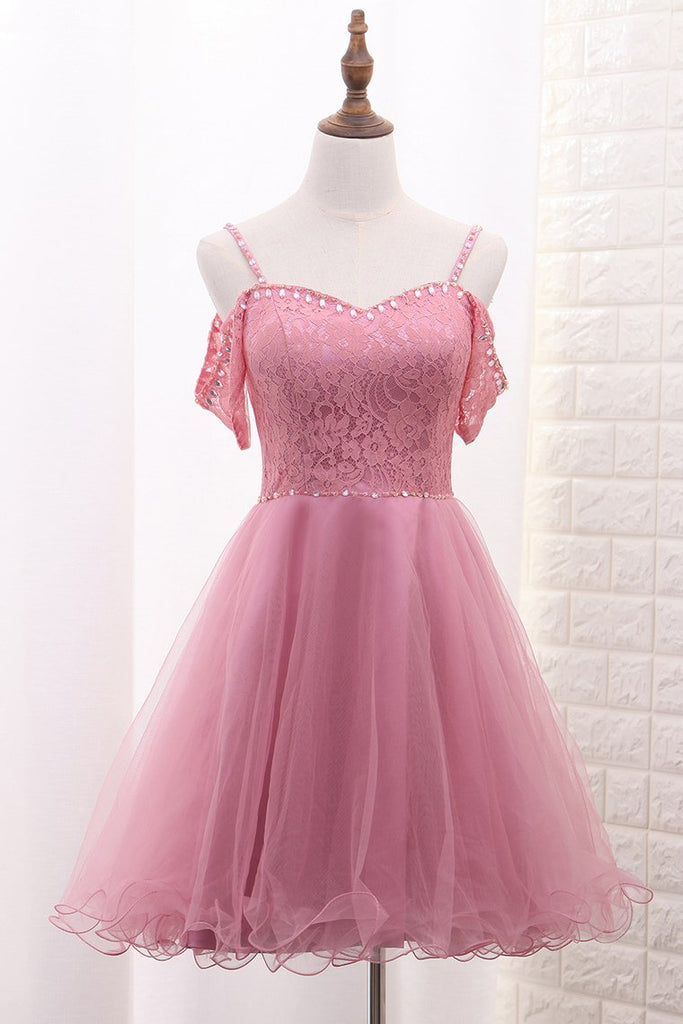 2019 A Line Tulle & Lace Spaghetti Straps Homecoming Dresses With Beads