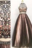Two pieces A line Beaded 2019 Tulle prom dress dresses for prom Long prom dress 16156