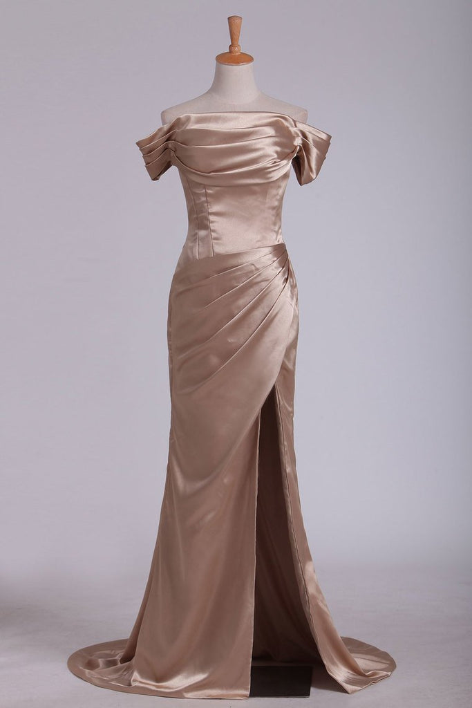 2019 Off The Shoulder Elastic Satin With Slit And Ruffles Sheath Evening Dresses