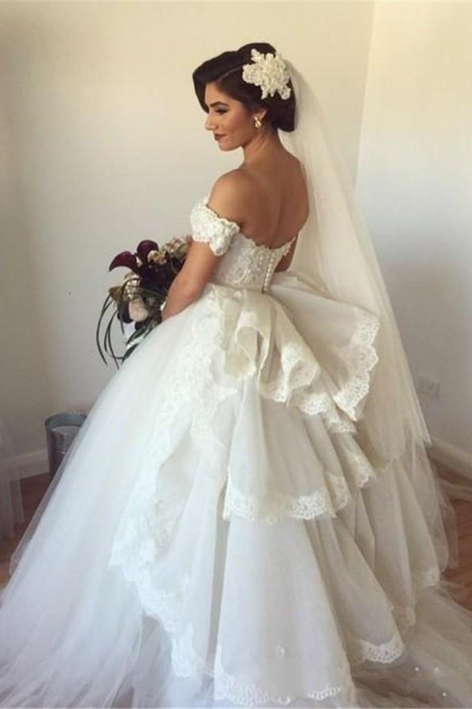 2019 Sweetheart Wedding Dresses A Line Tulle With Applique Sweep Train