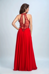 2019 Scoop Prom Dresses A Line Chiffon With Beading Red