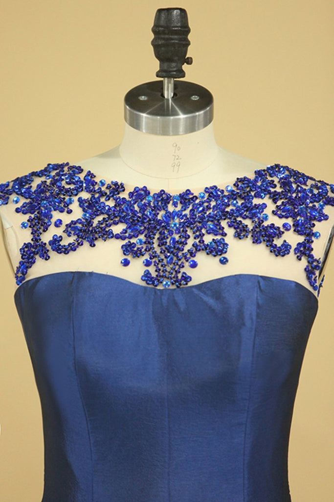2019 Dark Royal Blue Scoop Prom Dresses Mermaid Taffeta Sweep Train With Beading