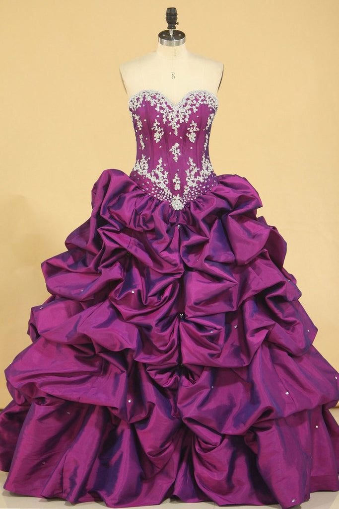 Ball Gown Sweetheart Floor Length Quinceanera Dresses With Ruffle And Beading