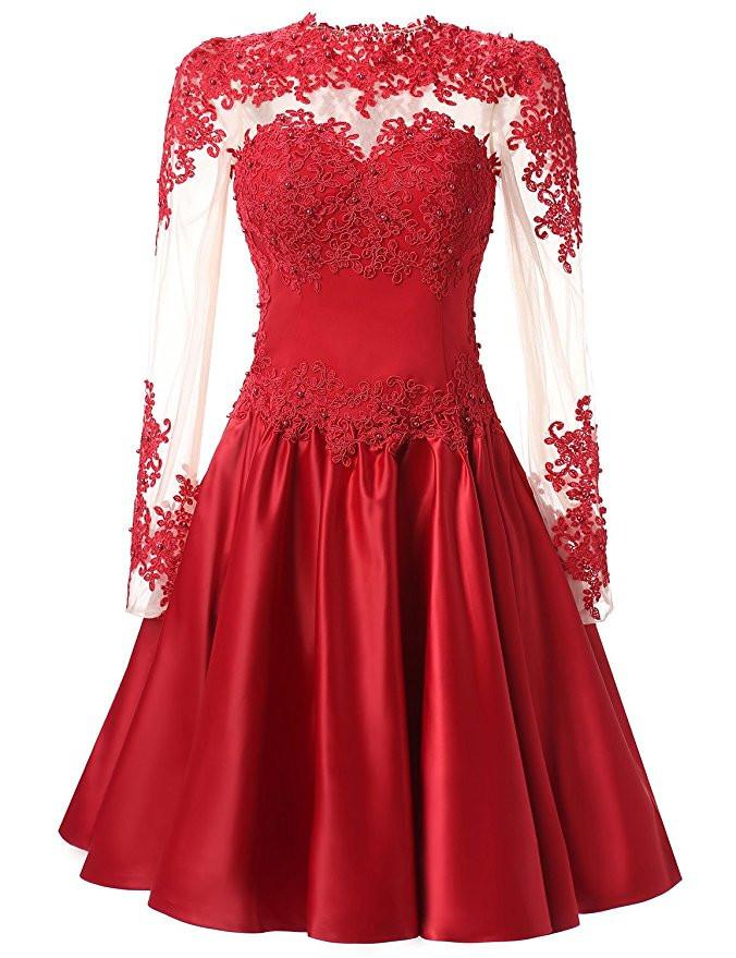 A Line Long Sleeves With Applique Knee-Length High Neck Homecoming Dresses WK326