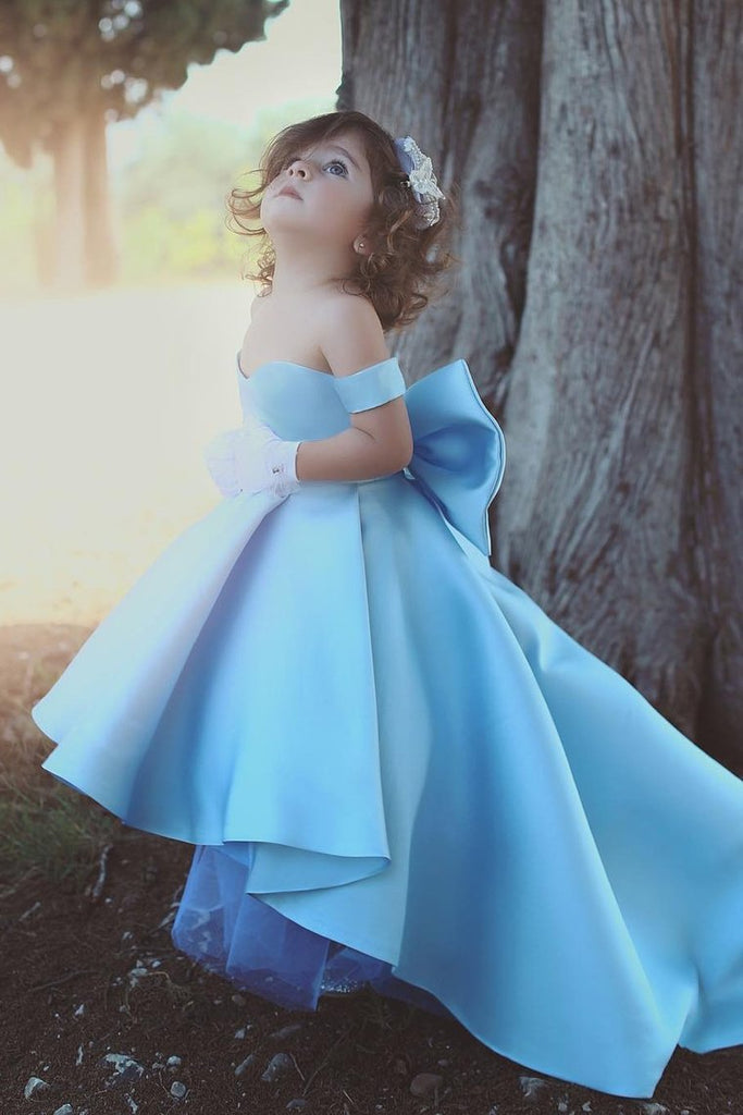 Off The Shoulder Flower Girl Dresses Satin A Line With Bow Knot Asymmetrical