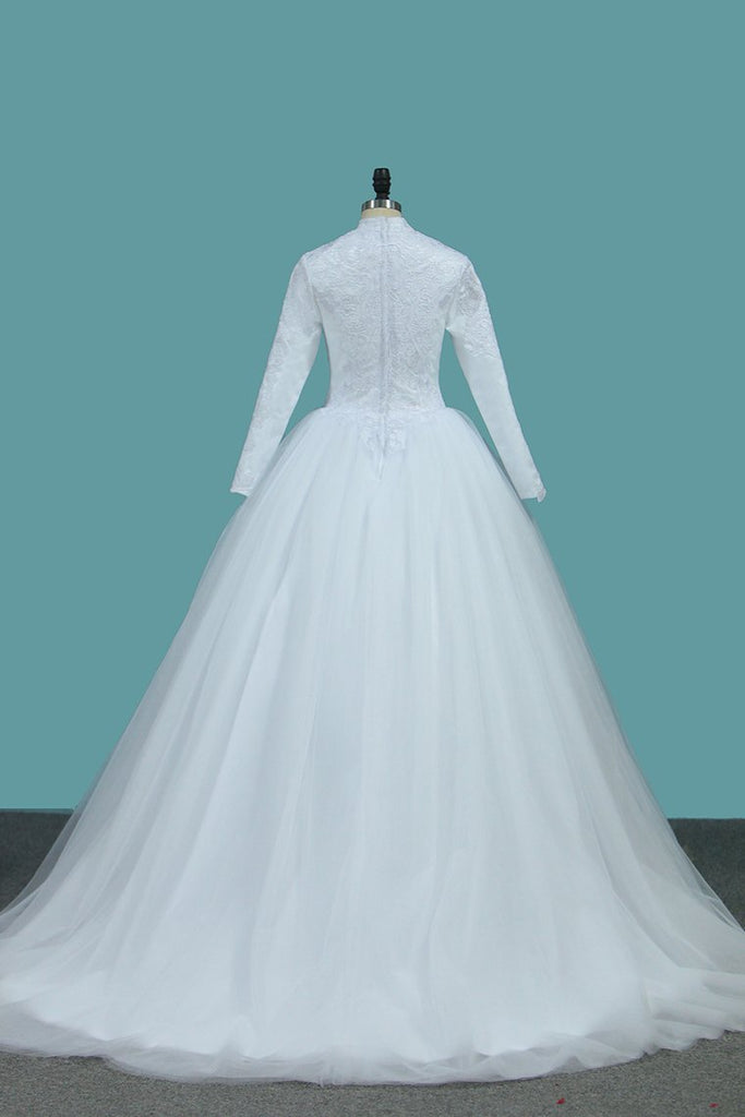 A Line Tulle Long Sleeves High Neck Wedding Dresses With Applique Sweep Train