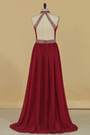 2020 A Line High Neck Chiffon Prom Dresses With Beads Open Back Sweep Train