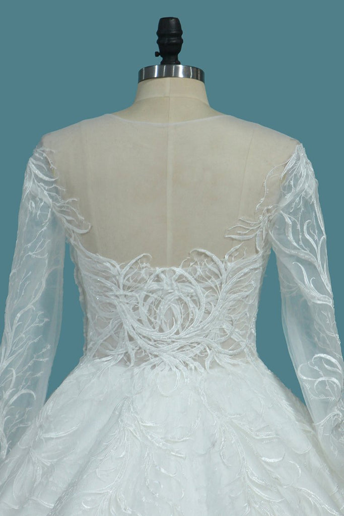 A Line Scoop Long Sleeves Wedding Dresses Tulle With Applique Chapel Train