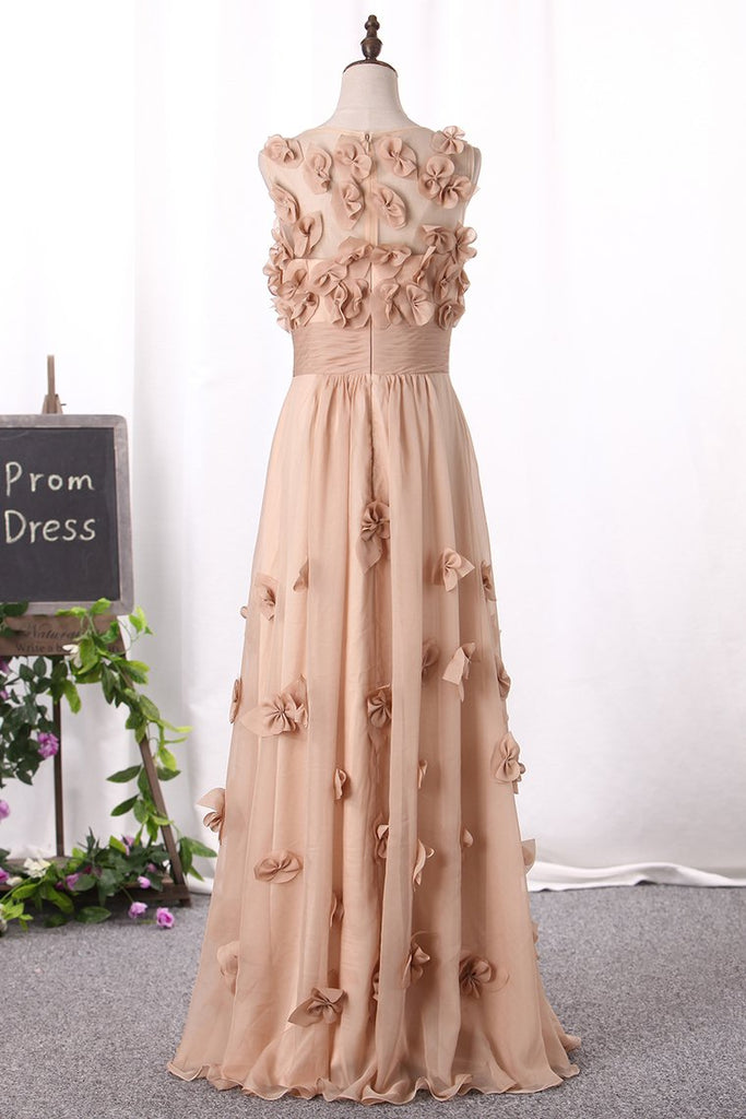 2019 Prom Dresses Scoop A Line With Handmade Flower And Ruffles Floor Length