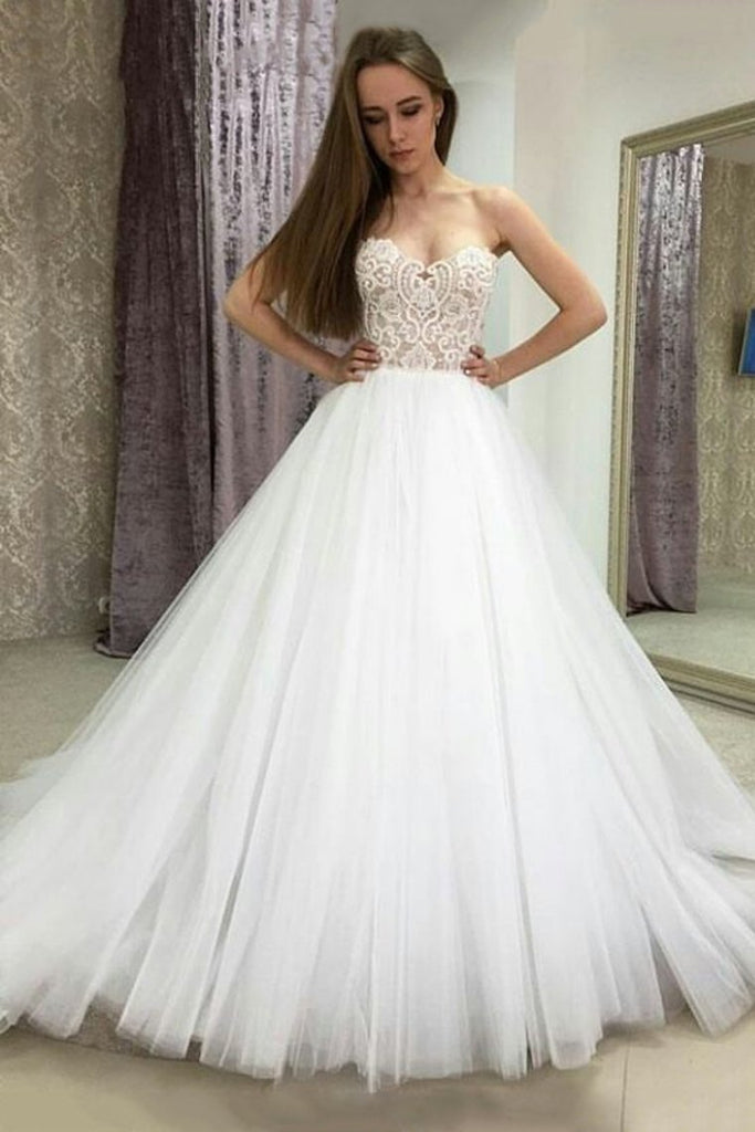 2019 Sweetheart A Line Tulle With Applique  Wedding Dresses