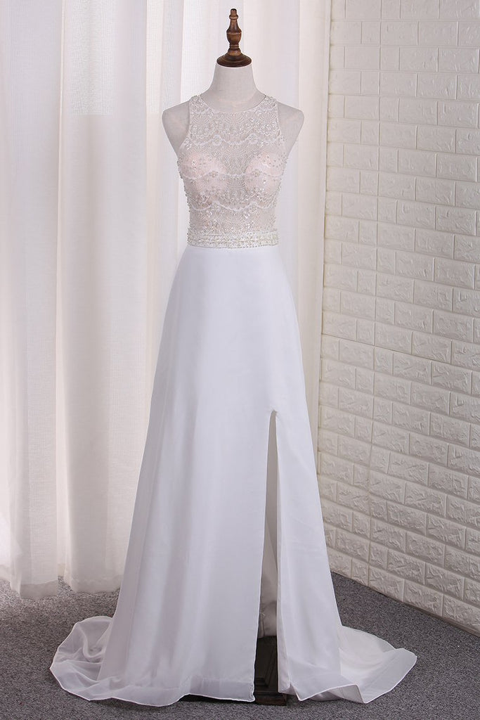 2019 New Arrival A Line Scoop Chiffon & Lace Wedding Dresses With Slit