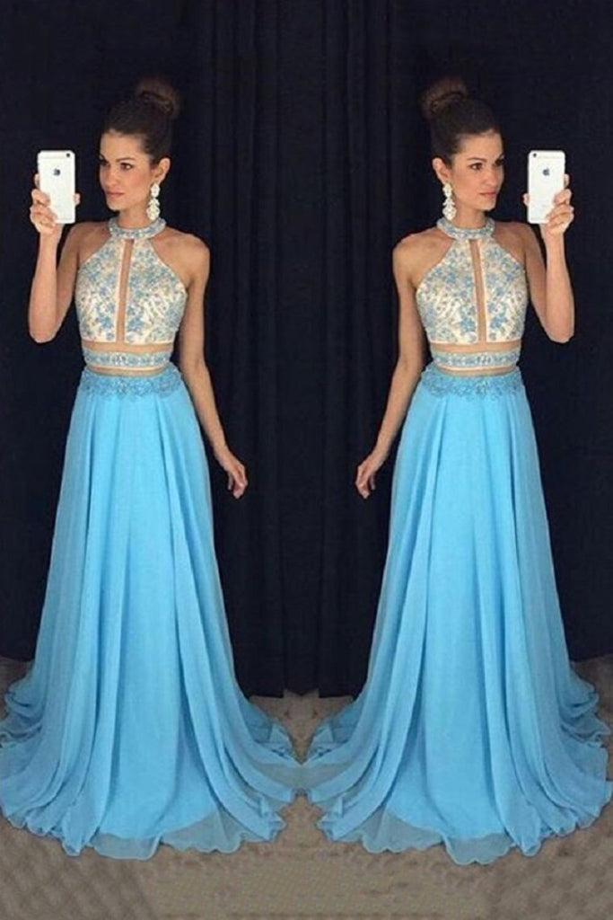 2019 Two Pieces Prom Dresses A-Line Chiffon With Beaded Bodice Sweep Train