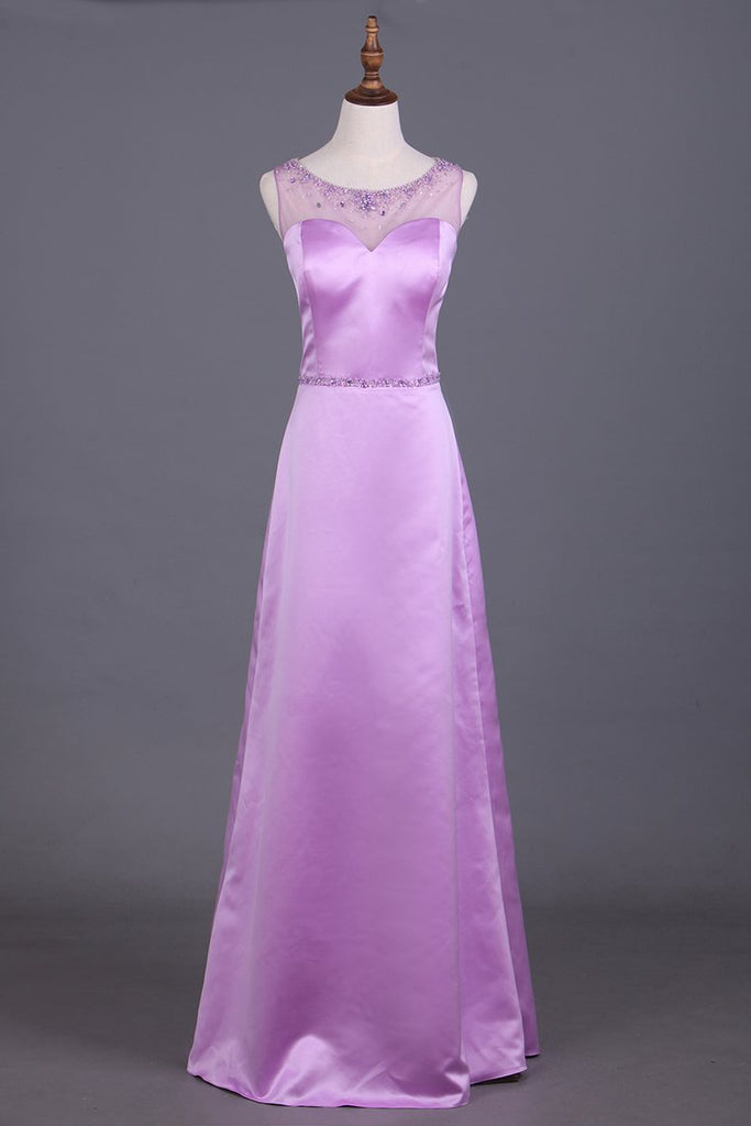 2019 Scoop Bridesmaid Dresses Satin With Beading Sheath Floor Length