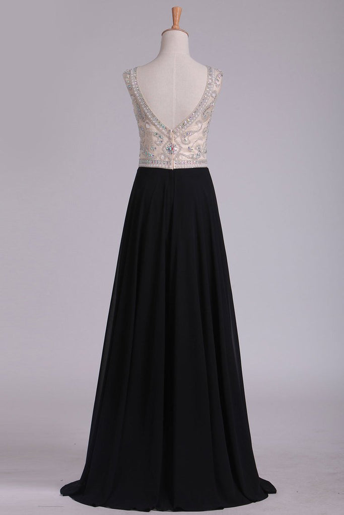 Cap Sleeve Prom Dresses Bateau With Beading And Slit Chiffon