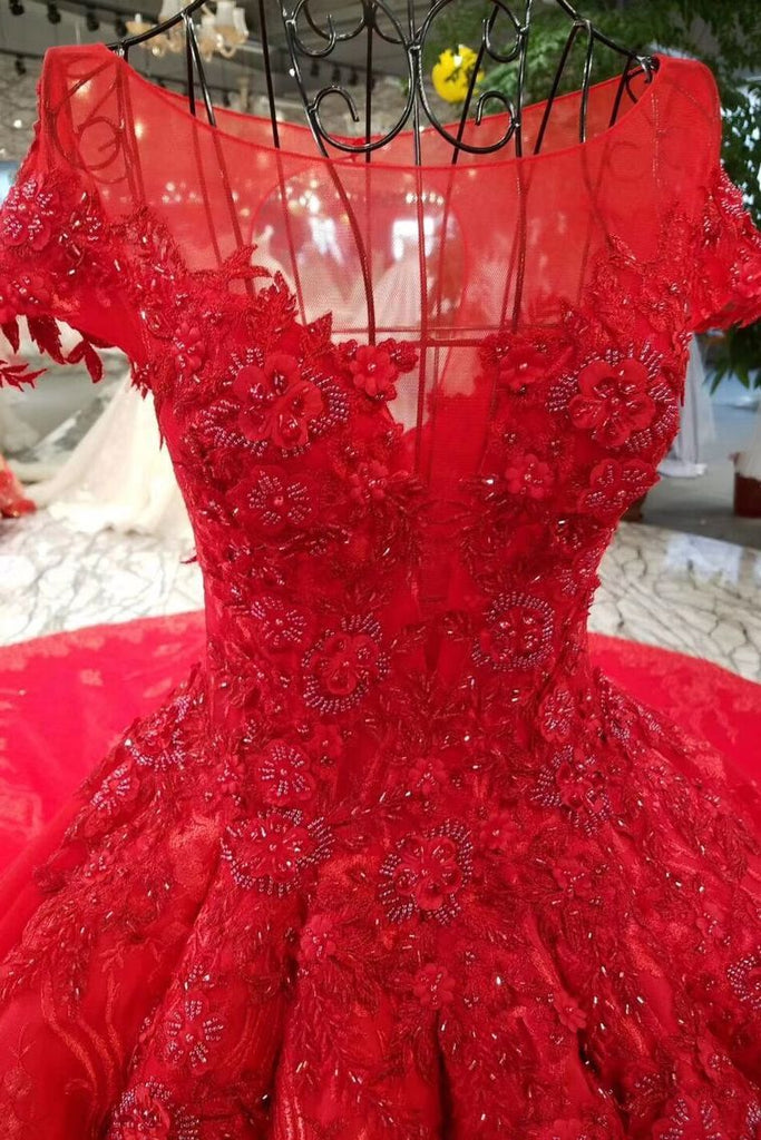 2019 Red Ball Gown Luxury Wedding Dresses Bateau Cap Sleeves Royal Train Lace