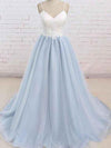 A Line Light Blue Spaghetti Straps Prom Dresses Sweetheart Long Evening Dresses WK602