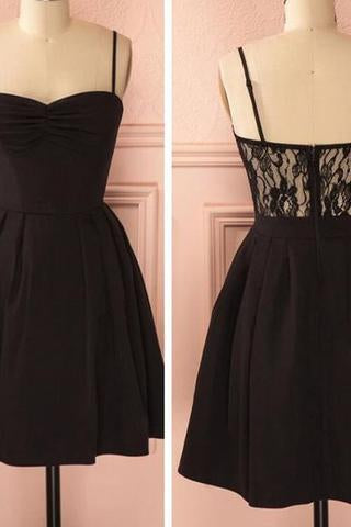 Spaghetti strap black simple lace cheap sexy homecoming prom dress BD0067
