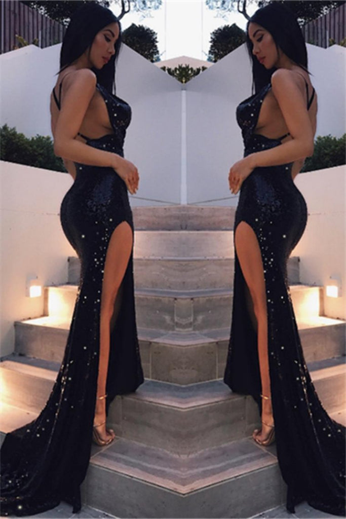 Sexy Black Sequin Shiny Long Front Split Open Back Prom Dresses Prom Gowns
