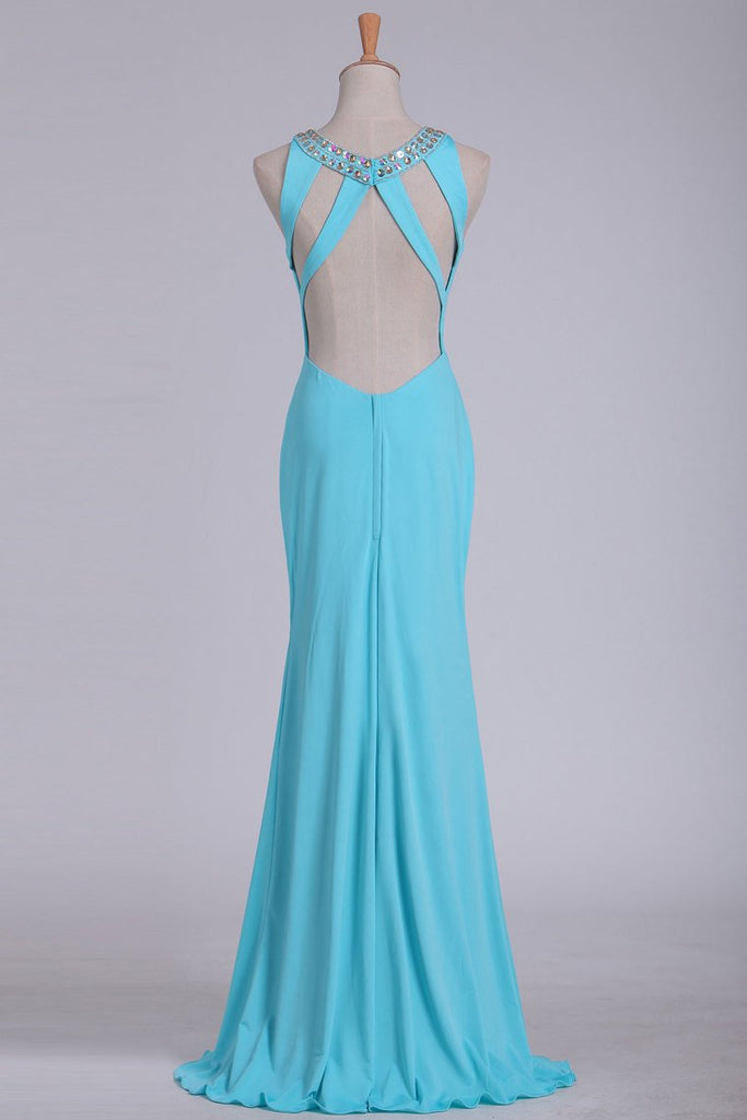 2019 Sexy Open Back Scoop With Beads And Slit Prom Dresses Spandex Sheath