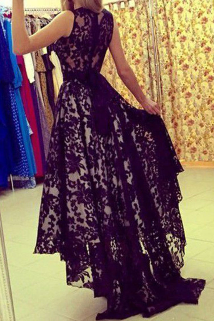 2019 New Arrival Prom Dresses A Line Scoop Lace With Sash Asymmetrical
