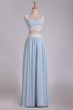 2019 Two-Piece Spaghetti Straps A Line With Applique And Ruffles Chiffon Prom Dresses