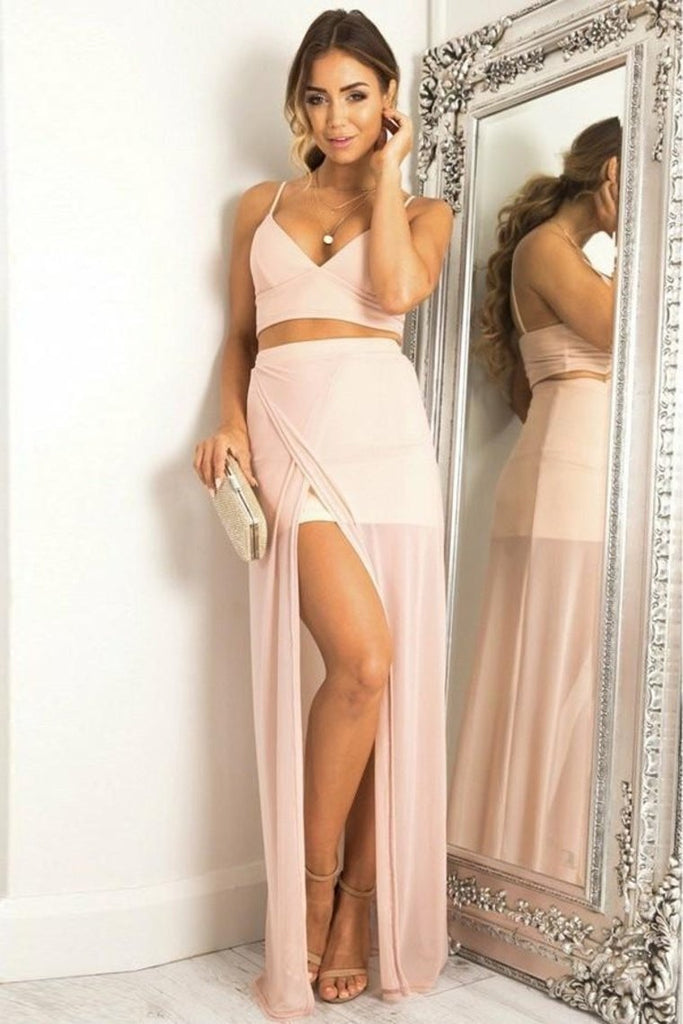 Cute Pink 2 Pieces Long Spaghetti Straps Chiffon Prom Dresses For Teens