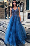 A Line Blue V Neck Beading Tulle Long Vintage Backless Prom Dresses WK87