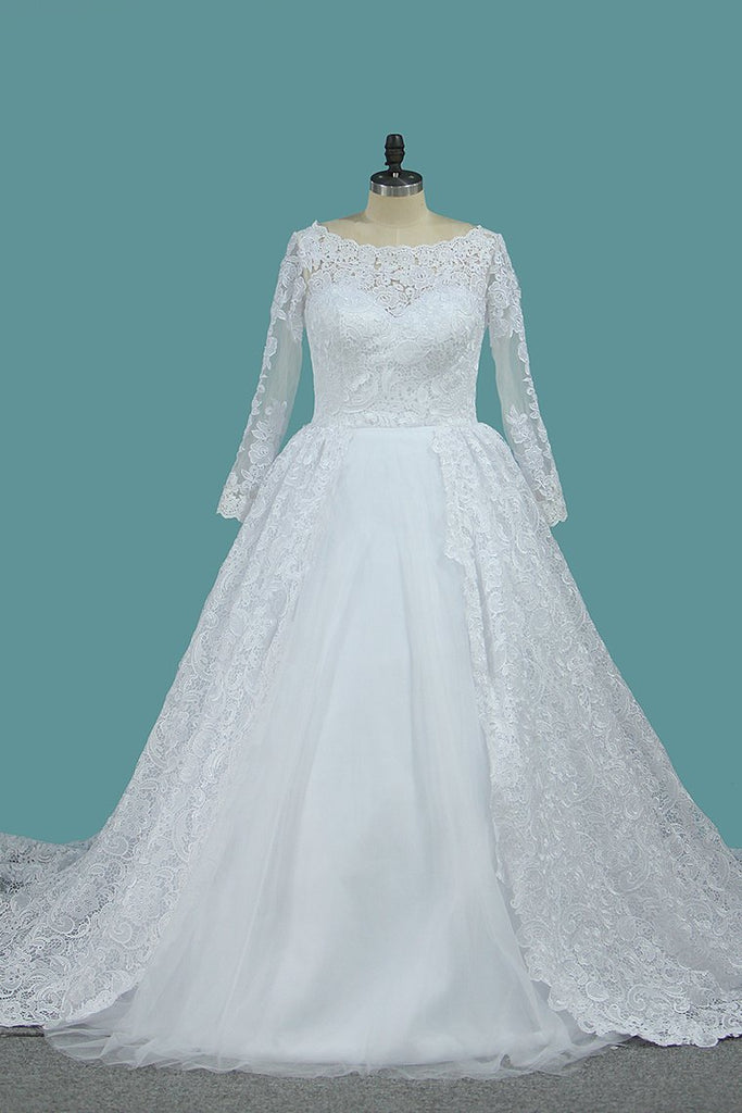 Long Sleeves Ball Gown Wedding Dresses Bateau Tulle & Satin With Applique