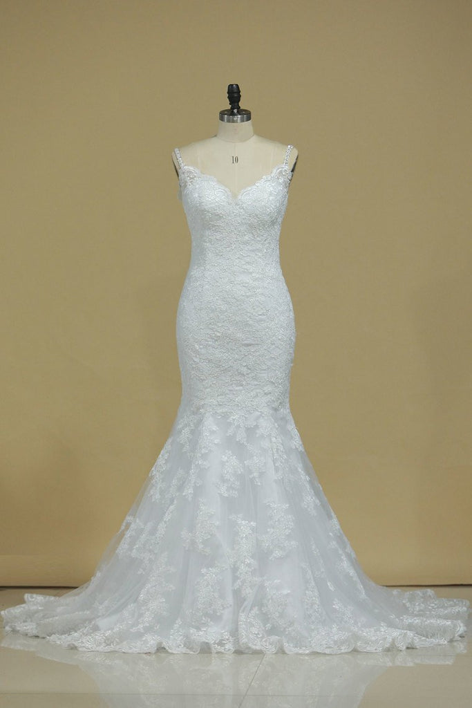 2019 Court Train Mermaid Spaghetti Straps Tulle With Applique Wedding Dresses