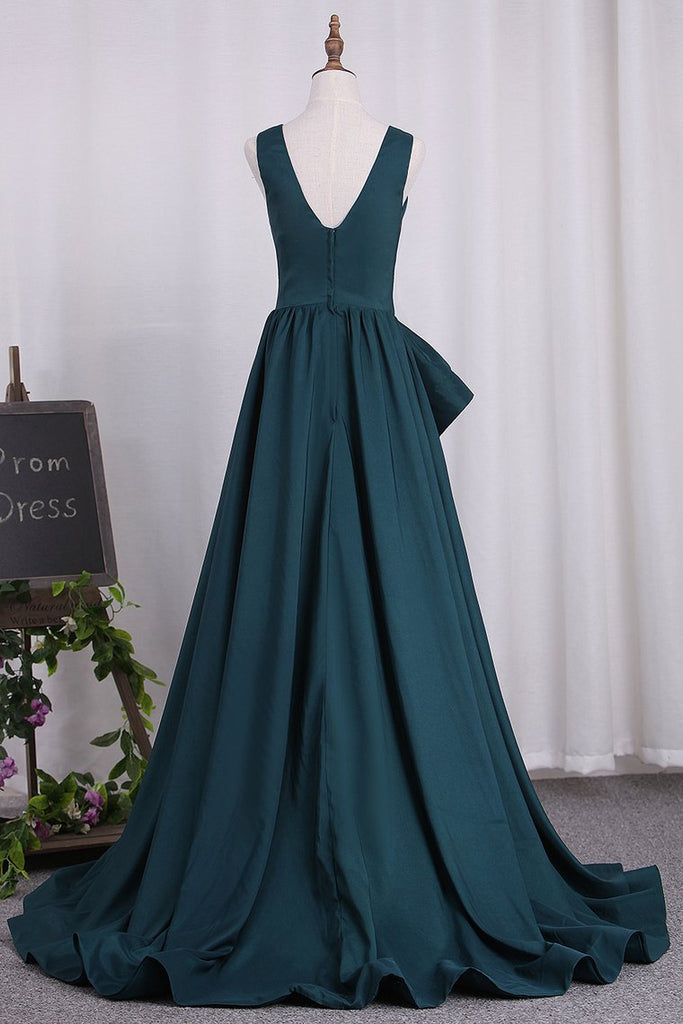 Deep V Neck Elastic Satin A Line Evening Dresses Sweep Train