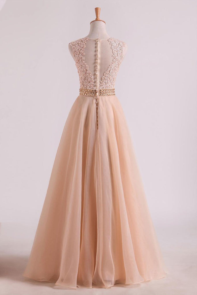 2019 Hot Prom Dresses Scoop A Line With Sash And Applique